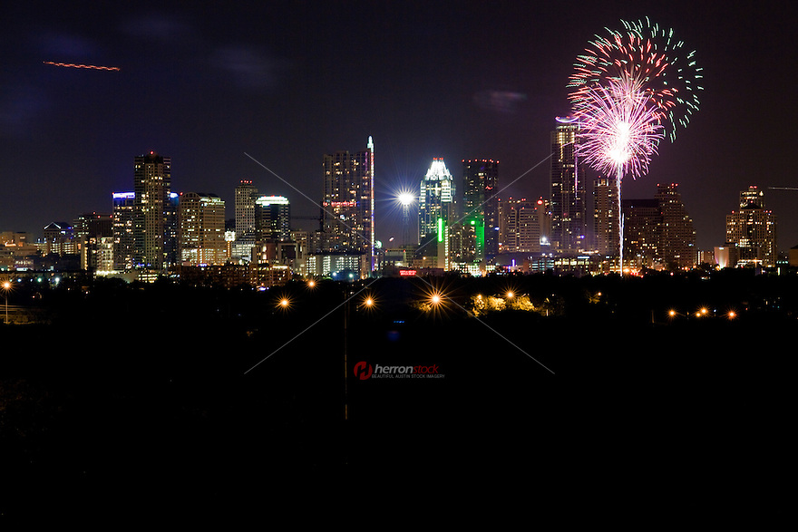 Colorful 4th of July Independence Day Fireworks over downtown Austin, Texas