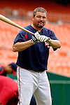 14 June 2006: Matthew LeCroy, catcher for the Washington Nationals, warms up prior to a game against the Colorado Rockies in Washington, DC. The Rockies defeated the Nationals 14-8 in front of 24,273 fans at RFK Stadium...Mandatory Photo Credit: Ed Wolfstein Photo...