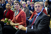 Ferenc Gyurcsany (R) former prime minister of Hungary and his wife Klara Dobrev (2nd R) attend the Foundation of the Democratic Coallition Party in Budapest, Hungary on October 22, 2011. ATTILA VOLGYI