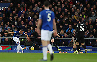11th January 2020; Goodison Park, Liverpool, Merseyside, England; English Premier League Football, Everton versus Brighton and Hove Albion; Richarlison of Everton makes space to shoot past Brighton and Hove Albion goalkeeper Matthew Ryan to give his side a 1-0 lead after 37 minutes - Strictly Editorial Use Only. No use with unauthorized audio, video, data, fixture lists, club/league logos or 'live' services. Online in-match use limited to 120 images, no video emulation. No use in betting, games or single club/league/player publications