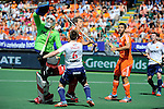 The Hague, Netherlands, June 13: Constantijn Jonker #27 of The Netherlands tries to score during the field hockey semi-final match (Men) between The Netherlands and England on June 13, 2014 during the World Cup 2014 at Kyocera Stadium in The Hague, Netherlands. Final score 1-0 (1-0)  (Photo by Dirk Markgraf / www.265-images.com) *** Local caption *** George Pinner #1 of England, Henry Weir #6 of England, Constantijn Jonker #27 of The Netherlands, Valentin Verga #10 of The Netherlands, Michael Hoare #12 of England