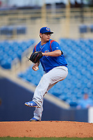 South Bend Cubs starting pitcher Javier Assad (30) delivers a pitch during the first game of a doubleheader against the Lake County Captains on May 16, 2018 at Classic Park in Eastlake, Ohio.  South Bend defeated Lake County 6-4 in twelve innings.  (Mike Janes/Four Seam Images)