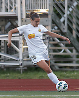 Western New York Flash defender Katherine Reynolds (16) crosses the ball.  In a National Women's Soccer League Elite (NWSL) match, the Boston Breakers (blue) tied Western New York Flash (white), 2-2, at Dilboy Stadium on June 5, 2013.