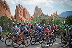 August 10, 2017 - Colorado Springs, Colorado, U.S. -  The men's peleton climbs through Colorado's majestic Garden of the Gods during stage one of the inaugural Colorado Classic cycling race, Colorado Springs, Colorado.
