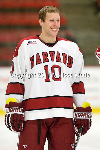 Eric Kroshus (Harvard - 10) - The Harvard University Crimson defeated the University of New Hampshire Wildcats 7-6 on Tuesday, November 22, 2011, at Bright Hockey Center in Cambridge, Massachusetts.