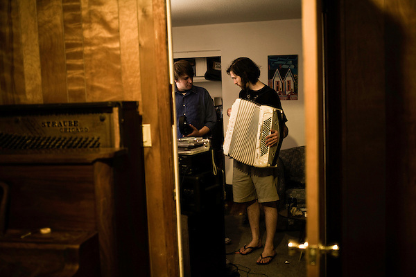 July 23, 2008. Chapel Hill, NC.. Perry and Alex, of the band Prayers and Tears of Arthur Digby Sellers, record one last time before Alex moves to Minnesota and Perry goes to a condo in Raleigh.. Perry and Alex.
