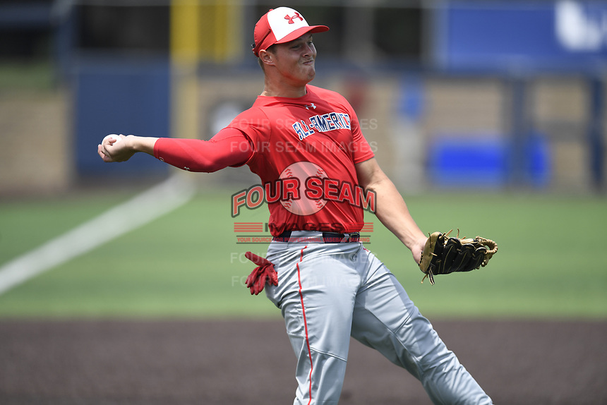 TEMPORARY UNEDITED FILE:  Image may appear lighter/darker than final edit - all images cropped to best fit print size.  <br /> <br /> Under Armour All-American Game presented by Baseball Factory on July 19, 2018 at Les Miller Field at Curtis Granderson Stadium in Chicago, Illinois.  (Mike Janes/Four Seam Images) Tyler Callihan is a third baseman from Providence High School in Neptune Beach, Florida committed to South Carolina.