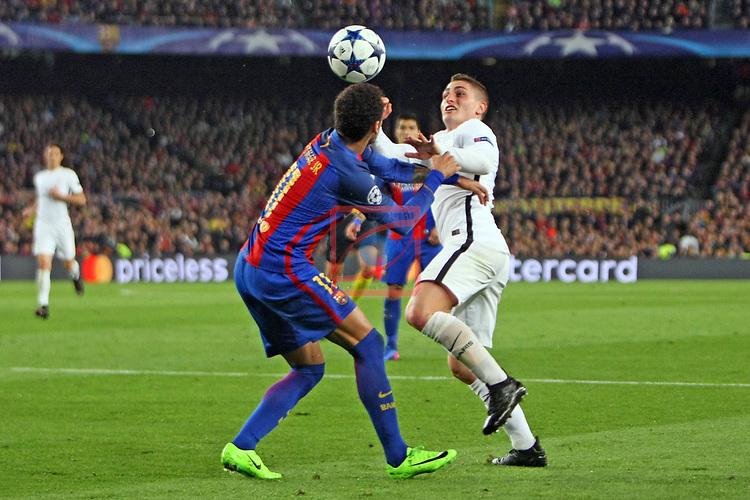 UEFA Champions League 2016/2017.<br /> Round of 16 2nd leg<br /> FC Barcelona vs Paris Saint-Germain: 6-1.<br /> Neymar Jr. vs Marco Verratti.