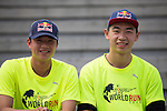 Red Bull Athletes Chiao Cheng (right) and Tiger Huang (left) poses for a photograph during the Wings for Life World Run on 08 May, 2016 in Yilan, Taiwan. Photo by Victor Fraile / Power Sport Images