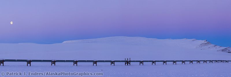 Panorama of the Trans Alaska oil pipeline stretching across the snow covered tundra near Slope mountain, Arctic, Alaska.
