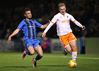 Blackpool's Callum Guy and Gillingham's Luke O'Neill<br /> <br /> Photographer Rachel Holborn/CameraSport<br /> <br /> The EFL Sky Bet League One - Gillingham v Blackpool - Tuesday 6th November 2018 - Priestfield Stadium - Gillingham<br /> <br /> World Copyright &copy; 2018 CameraSport. All rights reserved. 43 Linden Ave. Countesthorpe. Leicester. England. LE8 5PG - Tel: +44 (0) 116 277 4147 - admin@camerasport.com - www.camerasport.com