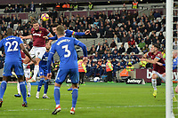 Andy Carroll Of West Ham United heads wide during West Ham United vs Cardiff City, Premier League Football at The London Stadium on 4th December 2018