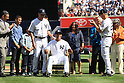 Mariano Rivera (Yankees),<br /> SEPTEMBER 22, 2013 - MLB :<br /> Mariano Rivera of the New York Yankees is presented with a rocking chair by manager Joe Girardi and Derek Jeter during his retirement ceremony before the Major League Baseball game against the San Francisco Giants at Yankee Stadium in The Bronx, New York, United States. (Photo by Thomas Anderson/AFLO) (JAPANESE NEWSPAPER OUT)