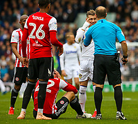 Leeds United's Ezgjan&nbsp;Alioski has words with referee Jeremy Simpson<br /> <br /> Photographer Alex Dodd/CameraSport<br /> <br /> The EFL Sky Bet Championship - Leeds United v Brentford - Saturday 6th October 2018 - Elland Road - Leeds<br /> <br /> World Copyright &copy; 2018 CameraSport. All rights reserved. 43 Linden Ave. Countesthorpe. Leicester. England. LE8 5PG - Tel: +44 (0) 116 277 4147 - admin@camerasport.com - www.camerasport.com