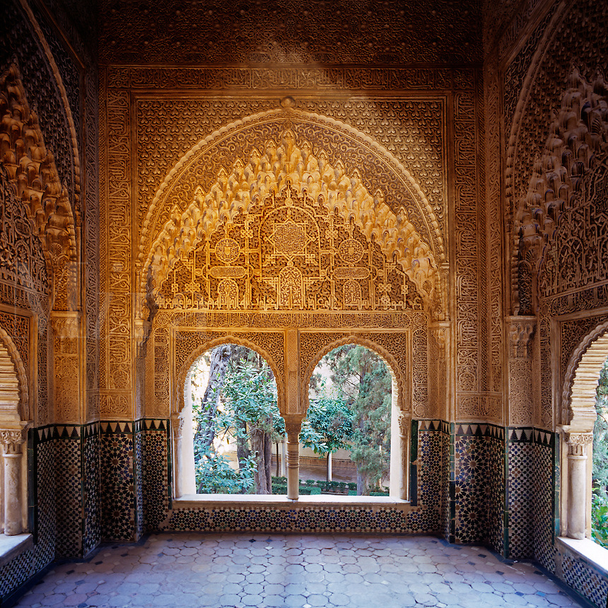 CARVED ALCOVE in the COURT OF THE LIONS in GRANADA'S ALHAMBRA - built during the NASRID DYNASTY (1238-1492) - SPAIN