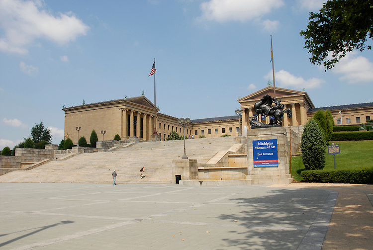 Exterior of Philadelphia Museum of Art Photo # 205-30758_1.Philadelphia, Pennsylvania, PA USA.  Photo copyright Lee Foster, 510-549-2202, lee@fostertravel.com, www.fostertravel.com.  Photo 205-30758