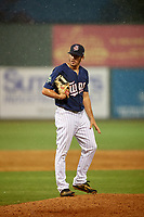 Elizabethton Twins relief pitcher Zach Neff (21) gets ready to deliver a pitch during a game against the Bristol Pirates on July 29, 2018 at Joe O'Brien Field in Elizabethton, Tennessee.  Bristol defeated Elizabethton 7-4.  (Mike Janes/Four Seam Images)
