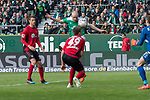 13.04.2019, Weser Stadion, Bremen, GER, 1.FBL, Werder Bremen vs SC Freiburg, <br /> <br /> DFL REGULATIONS PROHIBIT ANY USE OF PHOTOGRAPHS AS IMAGE SEQUENCES AND/OR QUASI-VIDEO.<br /> <br />  im Bild<br /> 1:0 kopfball Davy Klaassen (Werder Bremen #30)<br /> gegen Nico Schlotterbeck (SC Freiburg #49) Alexander Schwolow (SC Freiburg #01) tor <br /> <br /> <br /> Foto &copy; nordphoto / Kokenge