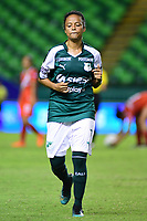 PALMIRA - COLOMBIA, 03-08-2019: Darnelly Quintero del Cali sale expulsada durante el partido entre Deportivo Cali y Cortuluá por la fecha 4 de la Liga Femenina Águila 2019 jugado en el estadio Deportivo Cali de la ciudad de Palmira. / Darnelly Quintero of Cali leaves the field expulsed during match for the date 4 between Deportivo Cali and Cortulua of the Aguila Women League 2019 played at Deportivo Cali stadium in Palmira city. Photo: VizzorImage / Nelson Rios / Cont