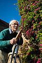 """20/05/17<br /> <br /> David Shawcross, 85, gives his giant 18ft tall topiary its spring time trim.<br /> <br /> The couple moved into their home in Callow, near Wirksworth, Derbyshire in 1966. The house was partially derelict and the garden had been neglected for decades. But one spindly hawthorn sapling soon caught the couple's eyes. David, a retired art teacher said: """"We didn't choose it, it chose itself. It began to grow into a ragged and ramshackle bush but clearly had the shape of a chick. So I began to clip it to help it along. . It gets one big trim in the autumn but I always tidy it up during the Easter holiday too.""""<br /> <br /> <br /> All Rights Reserved, F Stop Press Ltd +44 (0)7765 242650 www.fstoppress.com rod@fstoppress.com"""