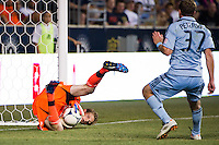 Philadelphia Union goalkeeper Zac MacMath (18) makes a save. Sporting Kansas City defeated the Philadelphia Union 2-0 during the semifinals of the 2012 Lamar Hunt US Open Cup at PPL Park in Chester, PA, on July 11, 2012.