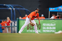 Richmond Flying Squirrels first baseman K.C. Hobson (17) during a game against the Trenton Thunder on May 11, 2018 at The Diamond in Richmond, Virginia.  Richmond defeated Trenton 6-1.  (Mike Janes/Four Seam Images)