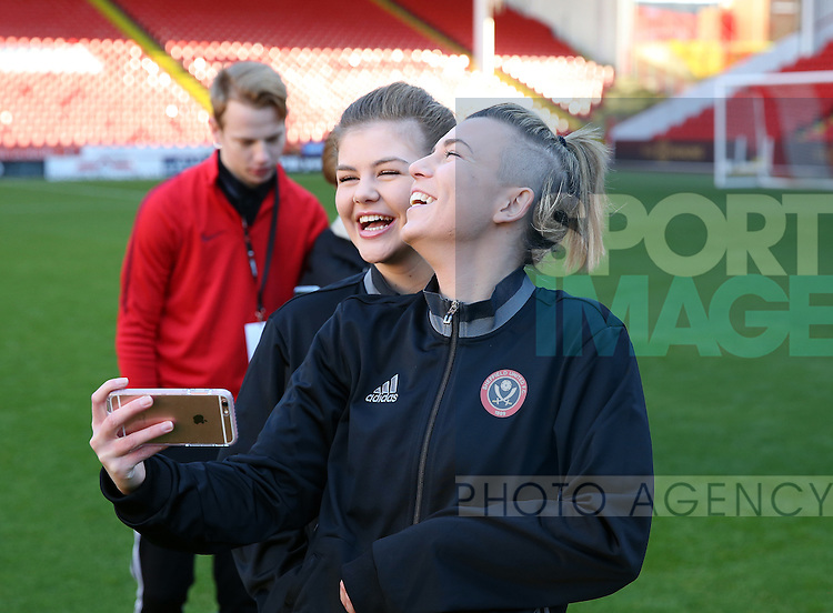 Sheffield United Ladies Jennifer Pearson (Right) takes a selfie photo with team-mate Ruby Hall during the FA Women's Cup First Round match at Bramall Lane Stadium, Sheffield. Picture date: December 4th, 2016. Pic Clint Hughes/Sportimage