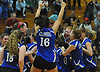 Kellenberg teammates celebrate after their three sets to one victory over Sacred Heart Academy in the Nassau-Suffolk CHSAA varsity girls volleyball championship at St. Dominic High School in Oyster Bay on Tuesday, Nov. 7, 2017.