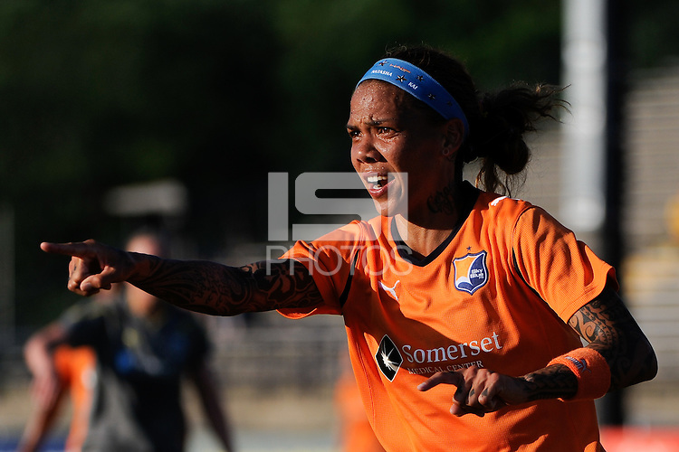 Natasha Kai (6) of Sky Blue FC looks for a call from the assistant referee. The Philadelphia Independence defeated Sky Blue FC 2-1 during a Women's Professional Soccer (WPS) match at John A. Farrell Stadium in West Chester, PA, on June 6, 2010.