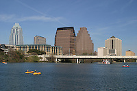 Canoeing and kyaking in front of the majestic Austin Cityscape on Town Lake Austin