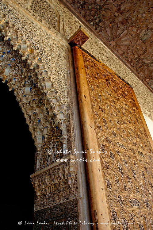 Entrance to the Tower of Comares at Alhambra, a 14th-century palace in Granada, Andalusia, Spain.