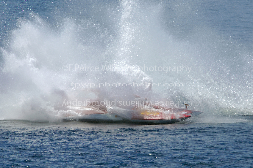 """Frame 2: Leanna Richards, T-777 """"Lil Crush"""" spins out in the second turn.  (1.5 Litre Stock hydroplane(s)"""