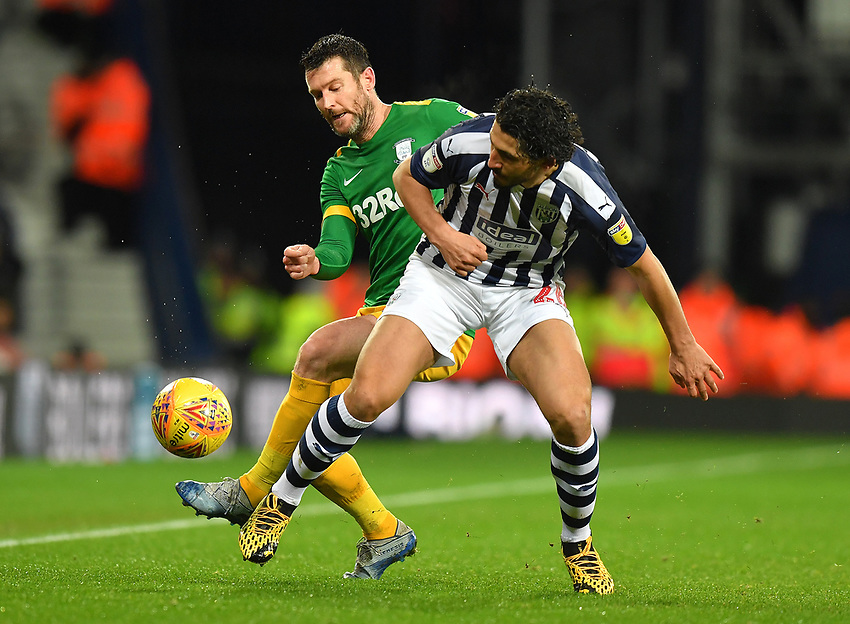 Preston North End's David Nugent battles with West Bromwich Albion's Ahmed Hegazy<br /> <br /> Photographer Dave Howarth/CameraSport<br /> <br /> The EFL Sky Bet Championship - West Bromwich Albion v Preston North End - Tuesday 25th February 2020 - The Hawthorns - West Bromwich<br /> <br /> World Copyright © 2020 CameraSport. All rights reserved. 43 Linden Ave. Countesthorpe. Leicester. England. LE8 5PG - Tel: +44 (0) 116 277 4147 - admin@camerasport.com - www.camerasport.com