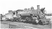 3/4 engineer side view of K-37 #494 at Gunnison.<br /> D&amp;RGW  Gunnison, CO  Taken by Ward, Bert H. - 7/13/1946