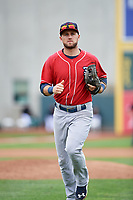 New Hampshire Fisher Cats third baseman Gunnar Heidt (4) jogs back to the dugout during a game against the Erie SeaWolves on June 20, 2018 at UPMC Park in Erie, Pennsylvania.  New Hampshire defeated Erie 10-9.  (Mike Janes/Four Seam Images)