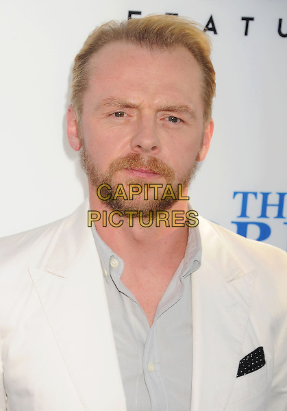 Simon Pegg<br /> 'The World's End' Los Angeles Premiere held at the Cinerama Dome, Hollywood, California, USA.<br /> August 21st, 2013<br /> headshot portrait suit white blue shirt beard facial hair     <br /> CAP/ROT<br /> &copy;Lee Roth/Capital Pictures
