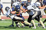 Santa Monica, CA 10/17/13 - \j25\ and Jack Mohr (Peninsula #82) in action during the Peninsula vs Santa Monica Junior Varsity football game at Santa Monica High School.