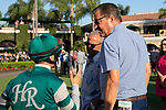 """DEL MAR, CA  AUGUST 24: Trainer John Sadler gives instructions to Flavien Prat  before the Pat O'Brien Stakes (Grade ll) """"Win and You're In Breeders' Cup Dirt Mile Division"""" on August 23, 2019 at Del Mar Thoroughbred Club in Del Mar, CA.  ( Photo by Casey Phillips/Eclipse Sportswire/CSM)"""