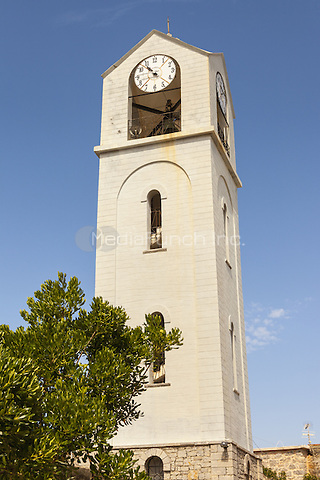 Clock tower of the New Taxiarchis Church, in the village of Mesta, Chios, Greece <br /> CAP/MEL<br /> &copy;MEL/Capital Pictures /MediaPunch ***NORTH AND SOUTH AMERICA ONLY***