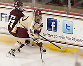 Shara Jasper (UMD - 71), Blake Bolden (BC - 10) - The visiting University of Minnesota Duluth Bulldogs defeated the Boston College Eagles 3-2 on Thursday, October 25, 2012, at Kelley Rink in Conte Forum in Chestnut Hill, Massachusetts.