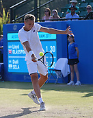 June 16th 2017, Nottingham, England; ATP Aegon Nottingham Open Tennis Tournament day 5;  Backhand from Lloyd Glasspool of Great Britain on centre court in the quarter final against Dudi Sela of Israel