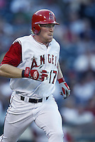 Darin Erstad of the Los Angeles Angels runs the bases during a 2002 MLB season game at Angel Stadium, in Anaheim, California. (Larry Goren/Four Seam Images)