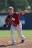Ty Taylor (3) of the Oklahoma Sooners pitches against the Pepperdine Waves at Eddy D. Field Stadium on February 18, 2012 in Malibu,California. Pepperdine defeated Oklahoma 10-0.(Larry Goren/Four Seam Images)