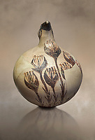 Beak spouted jug decorated with flowering crocus. Early Cycladic I (1650-1550 BC) , Phylakopi, Melos. National Archaeological Museum Athens. Cat No 5769.<br /> <br /> During this Cycladic period the pottery designs were heavily influenced by Cretean minoan with pottery like this using floral patterns.