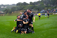 Team Wellington celebrates their second goal during the Oceania Football Championship final (first leg) football match between Team Wellington and Lautoka FC at David Farrington Park in Wellington, New Zealand on Sunday, 13 May 2018. Photo: Dave Lintott / lintottphoto.co.nz