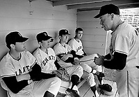 San Francisco Giants..Spring Training at Casa Grande.Arizona. coach talking to catchers....(1968 photo/Ron Riesterer)