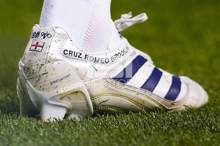 The right boot of David Beckham with the inscription of his three son's names Cruz, Romeo and Brooklynn. LA Galaxy The LA Galaxy defeated the Portland Timbers 3-0 at Home Depot Center stadium in Carson, California on  April  23, 2011....