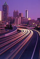 AJ4094, skyline, expressway, Atlanta, downtown, Georgia, Skyline of downtown Atlanta and traffic streaks of car lights on Downtown Connector Interstate I-85/I-75 from North Avenue in the evening in the state of Georgia.