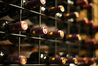 Wine bottles at the Vasse Felix winery.  Wilyabrup, Margaret River, Western Australia, AUSTRALIA.