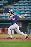 New Hampshire Fisher Cats right fielder Harold Ramirez (15) at bat during a game against the Altoona Curve on May 11, 2017 at Peoples Natural Gas Field in Altoona, Pennsylvania.  Altoona defeated New Hampshire 4-3.  (Mike Janes/Four Seam Images)